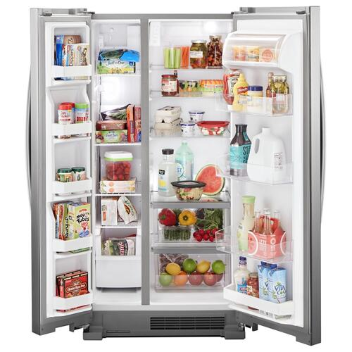 Whirlpool - 33-inch Wide Side-by-Side Refrigerator - 22 cu. ft. Monochromatic Stainless Steel
