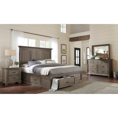 Chatham Park Queen Panel Bed Storage Footboard and Slat Roll in Warm gray