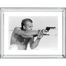 Steven Mcqueen Pistol (32 X 24) Black and White Print With Hollywood Style Beveled Mirror Frame