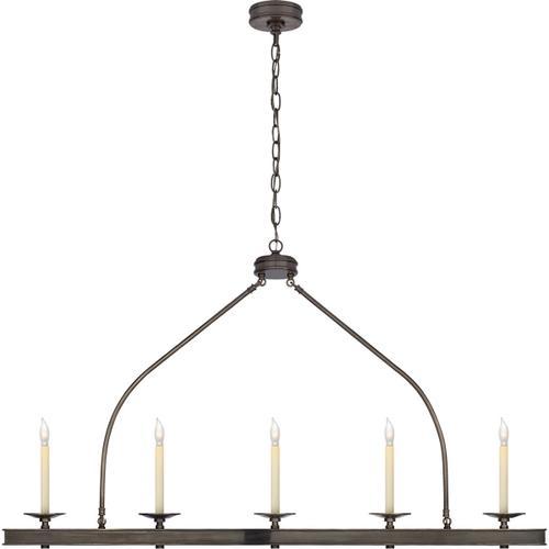 Visual Comfort - E. F. Chapman Launceton 5 Light 52 inch Bronze Linear Pendant Ceiling Light, Large