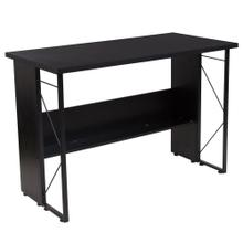 Black Computer Desk with Shelf and Metal Frame