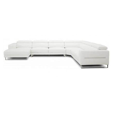 VIG Furniture - Divani Casa Hawkey - Contemporary White Full Leather U Shaped Left Facing Sectional Sofa