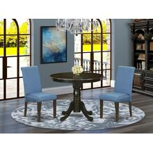 3Pc Small Round table with linen Blue fabric kitchen chairs with cappuccino chair legs