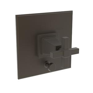 Weathered Brass Balanced Pressure Tub & Shower Diverter Plate with Handle