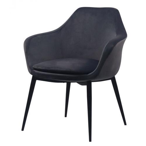 VIG Furniture - Modrest Wilson - Modern Grey Velvet & Black Dining Chair