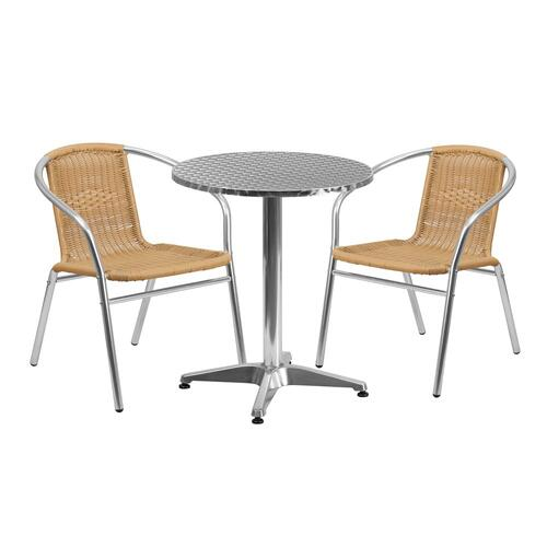 23.5'' Round Aluminum Indoor-Outdoor Table Set with 2 Beige Rattan Chairs