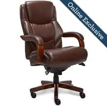 Delano Big & Tall Executive Office Chair, Chestnut Brown with Mahogany Wood