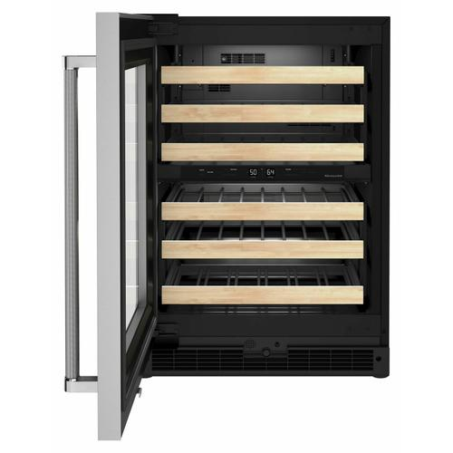 """KitchenAid Canada - 24"""" Undercounter Wine Cellar with Glass Door and Wood-Front Racks - Stainless Steel"""