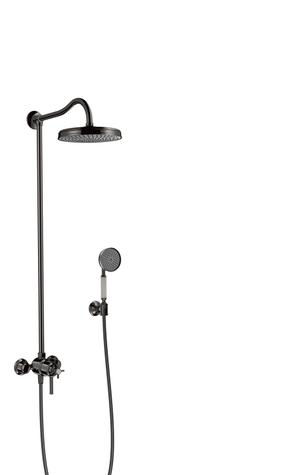 Polished Black Chrome Showerpipe with thermostat and overhead shower 1jet Product Image