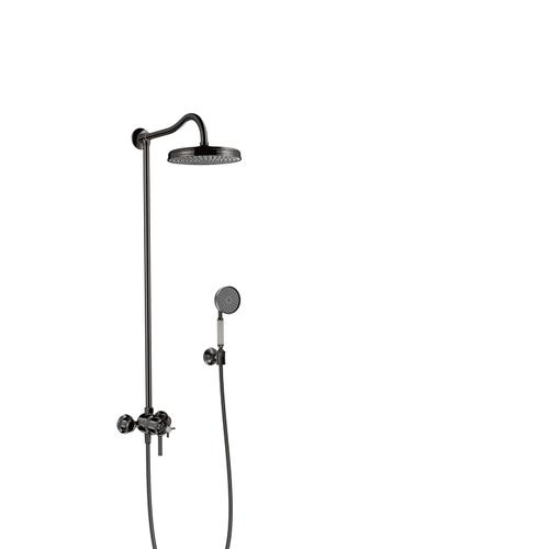 Polished Black Chrome Showerpipe with thermostat and overhead shower 1jet
