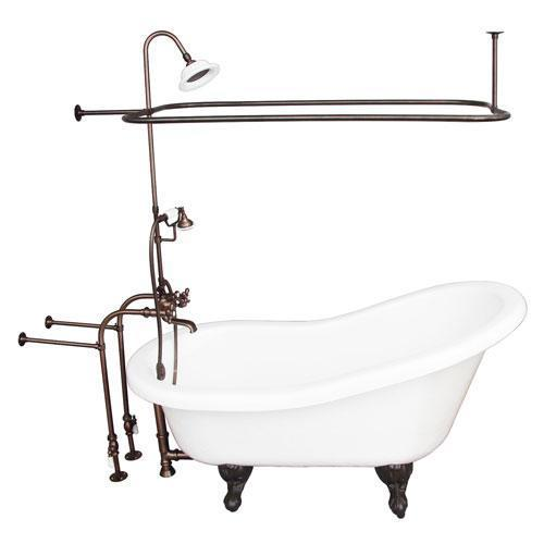 "Estelle 60"" Acrylic Slipper Tub Kit in White - Oil Rubbed Bronze Accessories"
