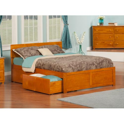 Orlando Full Flat Panel Foot Board with 2 Urban Bed Drawers Caramel Latte
