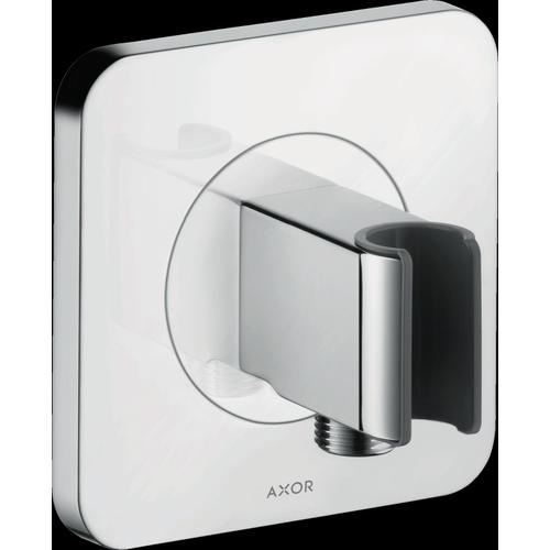 """Chrome Handshower Holder with Outlet 5"""" x 5"""""""
