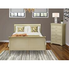 West Furniture Louis Philippe 2 Piece Queen Size Bedroom Set in Metallic Gold Finish with Queen Bed, Chest