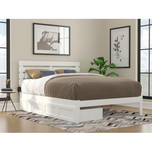 Oxford Queen Bed with USB Turbo Charger and 2 Extra Long Drawers in White