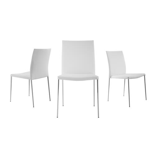 The Aldo White Eco-leather Dining Chairs