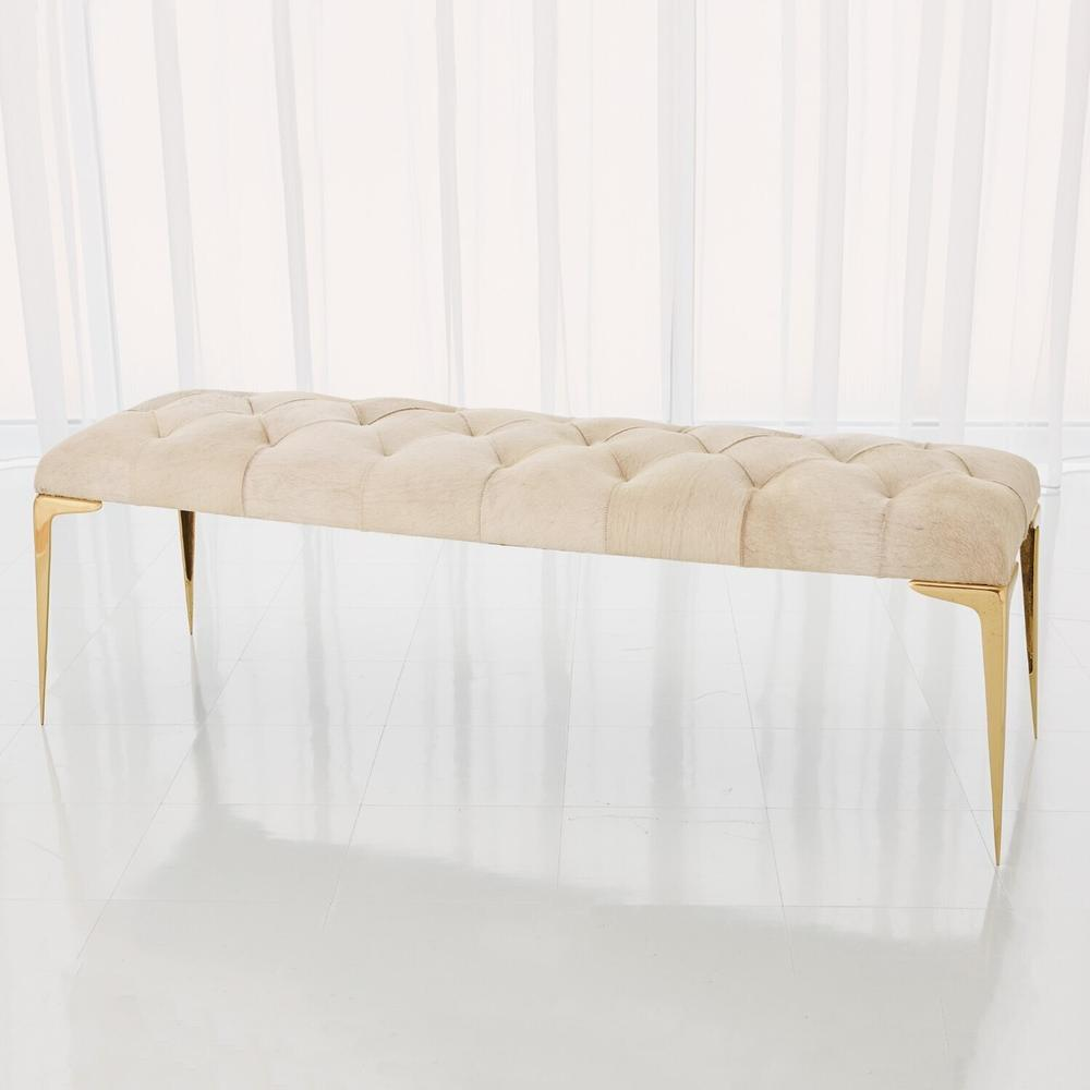 See Details - Stiletto Bench-White Hair-on-Hide