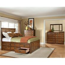 Queen Captains Bed with 9 Drawers Total (6 Regular Drawers on one side and 3 Large Drawers on the other)