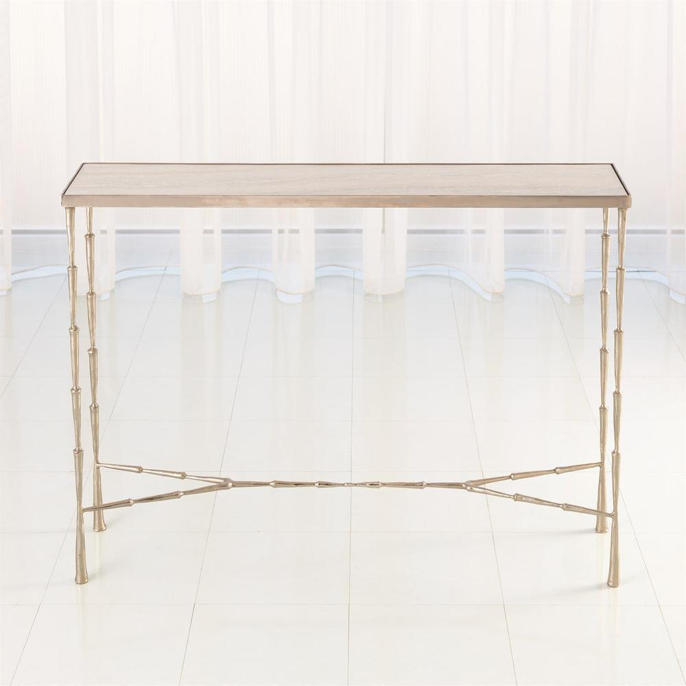 See Details - Spike Console-Antique Nickel w/White Marble Top