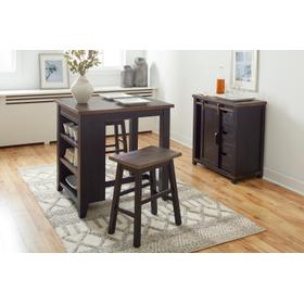 Madison County Counter Height & 2 Stools Vintage Black