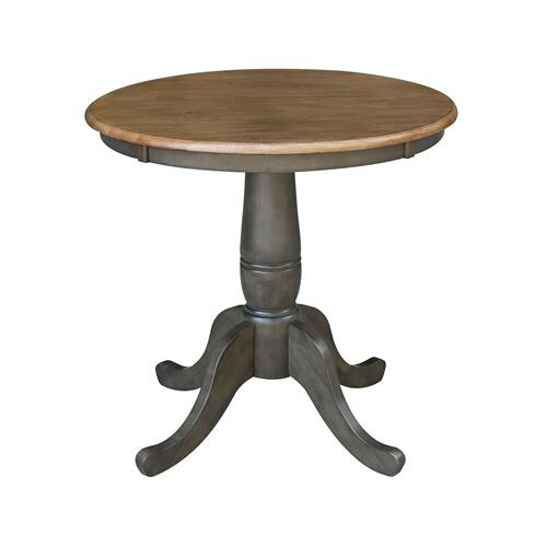 "30"" Pedestal Table in Hickory/Coal"