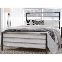 Kenton Metal Headboard and Footboard Bed Panels with Horizontal Bar Design, Black Nickel and Chrome Finish, King