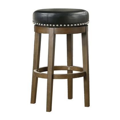See Details - Round Swivel Pub Height Stool, Black