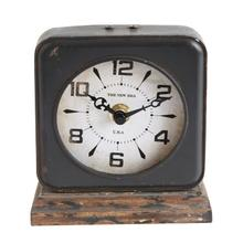 "4-1/4""L x 2""W x 5""H Pewter Clock w/ Distressed Ivory Face"