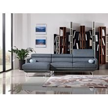 Divani Casa Pierce Modern Blue Fabric Sectional Sofa
