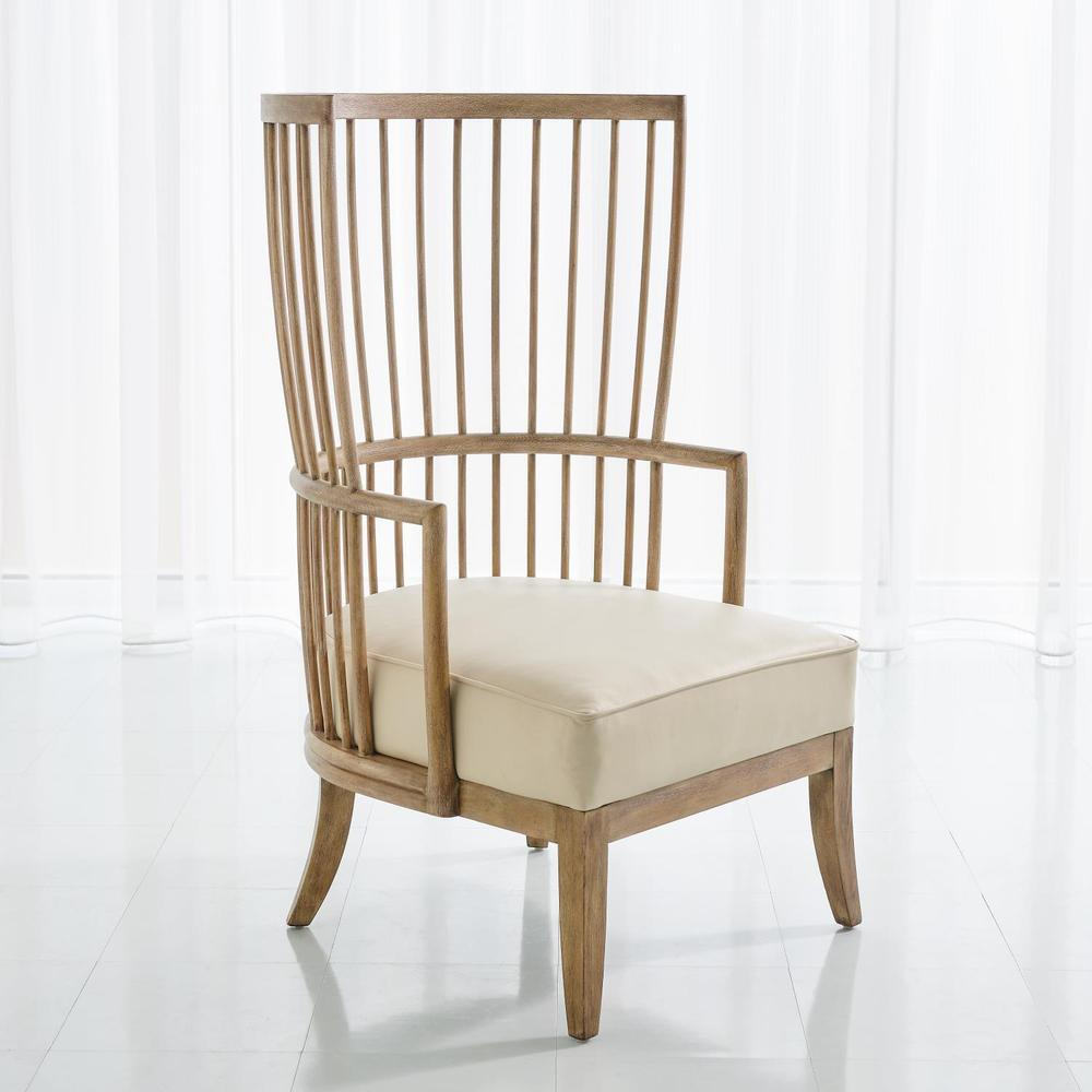 See Details - Spindle Wing Chair-Muslin