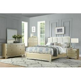 ACME Voeville II Queen Bed - 27130Q - PU & Champagne
