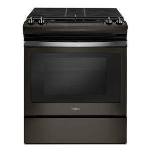5.0 cu. ft. Front Control Gas Range with Cast-Iron Grates - BLACK STAINLESS