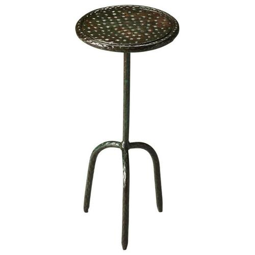 Butler Specialty Company - The Founders iron accent table makes a cute, functional side table. The three legged pedestal base supports a round top. Both are made of pounded iron with an industrial feel. Ideal next to a chair or couch, this table will add simple functionality to your home.