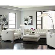 Chaviano Contemporary White Three-piece Living Room Set Product Image