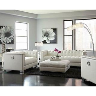 Chaviano Contemporary White Three-piece Living Room Set