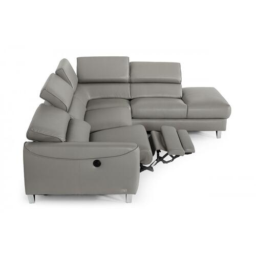 VIG Furniture - Divani Casa Versa - Modern Grey Teco-Leather Right Facing Sectional Sofa with Recliner