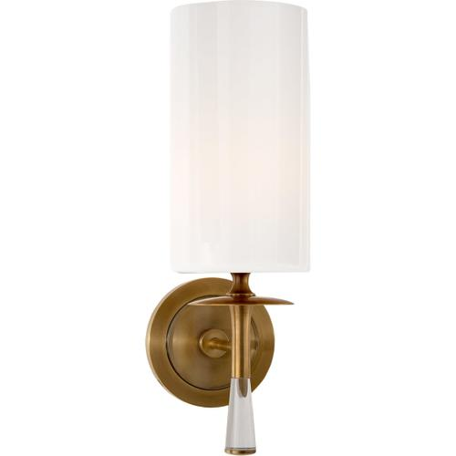 Visual Comfort - AERIN Drunmore 1 Light 5 inch Hand-Rubbed Antique Brass with Crystal Single Sconce Wall Light in White Glass