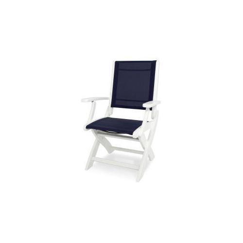 Polywood Furnishings - Coastal Folding Chair in White / Navy Blue Sling