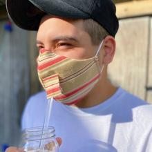 See Details - Happy Hour Reusable Face Mask in Yale Stripe Red