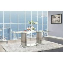 ACME Cyrene Dining Table w/Double Pedestal - 62075 - Stainless Steel & Clear Glass