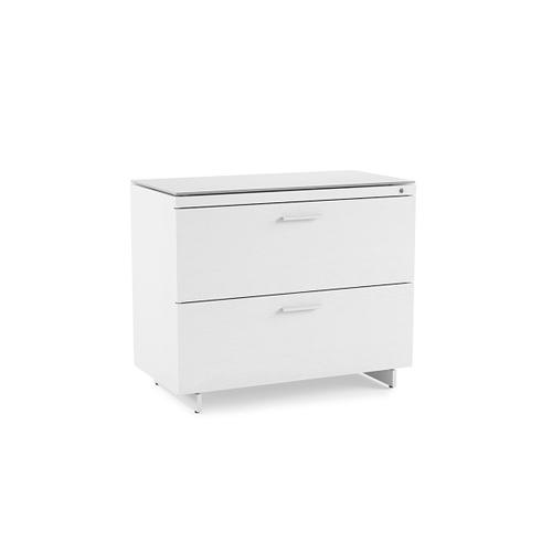 Lateral File Cabinet 6416 in Satin White Painted Oak Grey Glass