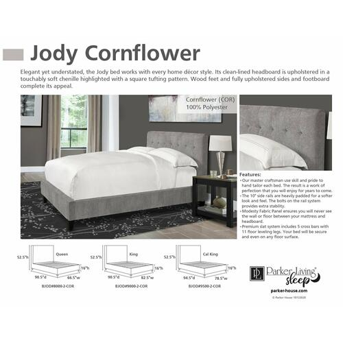 JODY - CORNFLOWER Cal King FB and Rails 6/0 (Grey)