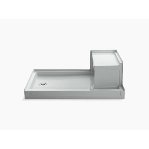 """Ice Grey 60"""" X 36"""" Single Threshold Left-hand Drain Shower Base With Integral Right-hand Seat"""