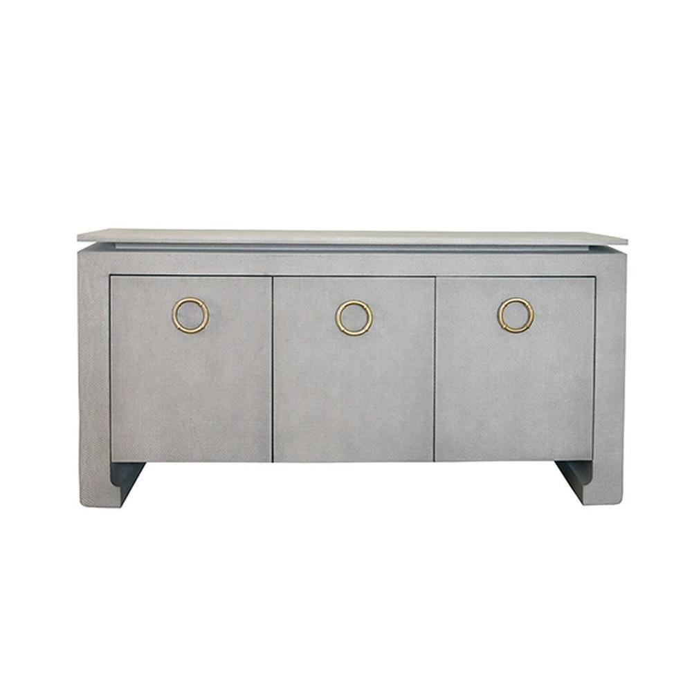 See Details - Three Door Buffet In Grey Grasscloth With Two Screw Antique Brass Hardware