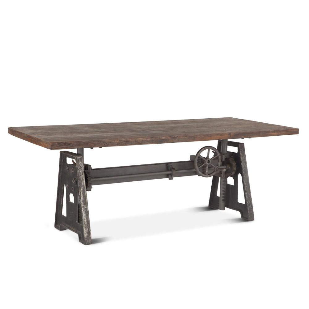 """Industrial Loft 84"""" Adjustable Dining Table Weathered Gray"""