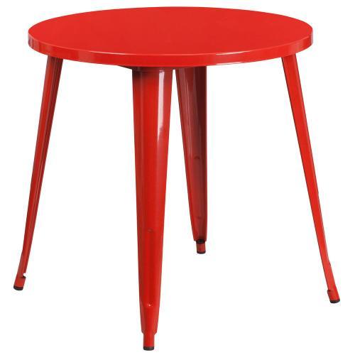 30'' Round Red Metal Indoor-Outdoor Table