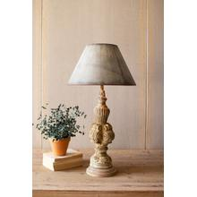 See Details - table lamp with sculpted base and galvanized shade