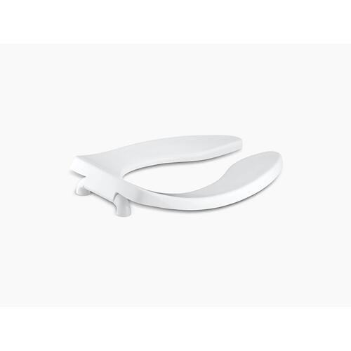 White Elongated Toilet Seat With Anti-microbial Agent and Check Hinge