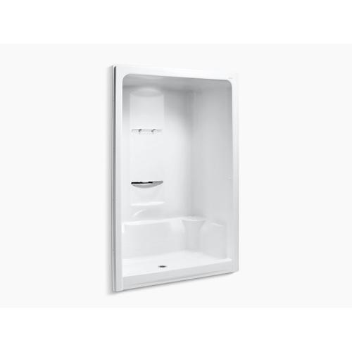 "White 60"" X 36"" X 90"" Center Drain Shower Stall With Integral High-dome Ceiling, Requires Grab Bar"