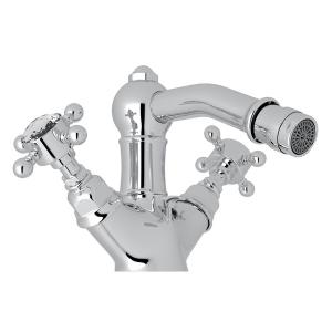 Polished Chrome Acqui Single Hole Two Handle Bidet Faucet with Crystal Cross Handle Product Image
